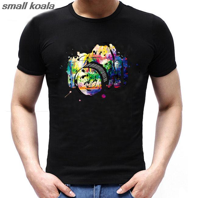 New Arrival Funny  Colorful Photographic Camera  Printed T-Shirt Summer Mens/Boy Hipster O-Neck Short Sleeve Tee Shirt