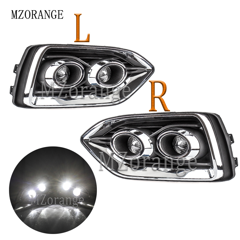 MZORANGE Day Lights Car Accessories For Hyundai Verna Accent Solaris DRL Daytime Running Light Driving Front Fog Lamps 2017 2018 luces led de policía