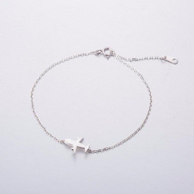 Hfarich 925 Sterling Silver Bracelet Simple Airplane Bracelets For