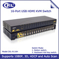 HDMI KVM Switch 16 Port USB Auto Scan Switcher for PC Monitor Keyboard Mouse Computer Server DVR NVR 3D 1080P CKL-9116H
