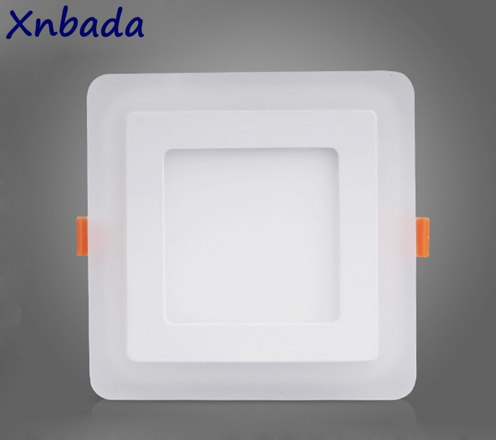Ultra Thin Square Double Color Led Panel Light,6W 9W 16W 24W Led Ceiling Recessed Panel Downlight AC85-265V