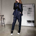 [soonyour] 2017 Spring New Fashion No Buckle Vest With A Double Zippers Pants  Cowboy Woman Two Pieces Suit   B04005