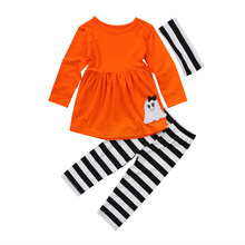 Halloween Kids Baby Girl Ghost Tops Long Sleeve Dress Striped Leggings Headband Outfits Clothes Set 2019 thanksgiving toddler kids baby girl clothes long sleeve tops plaid pants leggings headband 3pcs outfits clothes set