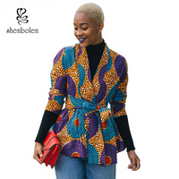 2017 Autumn African Dress For Women Long Sleeve Jacket Ankara Print Fall Coat Cardigan Wite Tie