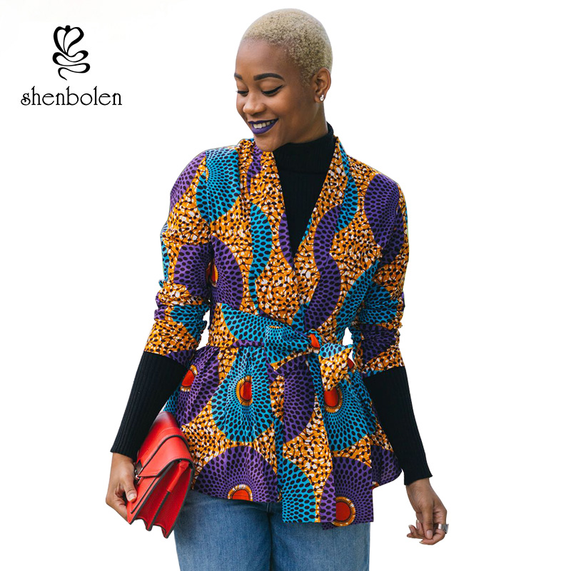 2018 Autumn African Dress for Women Long Sleeve Jacket Ankara Print Fall Coat Cardigan Wite Tie Plus Size Lady Clothes Cardigan