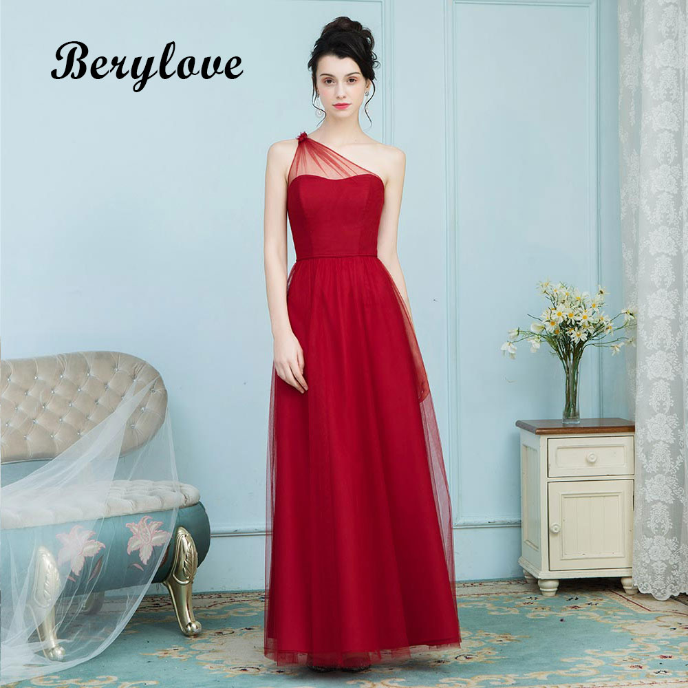 BeryLove Simple One Shoulder Red Evening Dresses Styles Long Prom Dresses 2018 Formal Gowns Special Occasion Gowns Party Dress