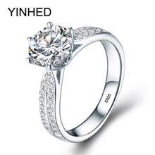 YINHED модные женские туфли обручальное кольцо из натурального шелка, 925 пробы Серебряные ювелирные изделия подарок 8 мм 2 карат SONA CZ Diamant Обручение кольцо ZR372