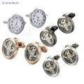 1 Par High-end Relógio Relógio Abotoaduras Real Gemelos abotoaduras Com Bateria Tourbill Cufflings Núcleo Da Máquina Mecânica