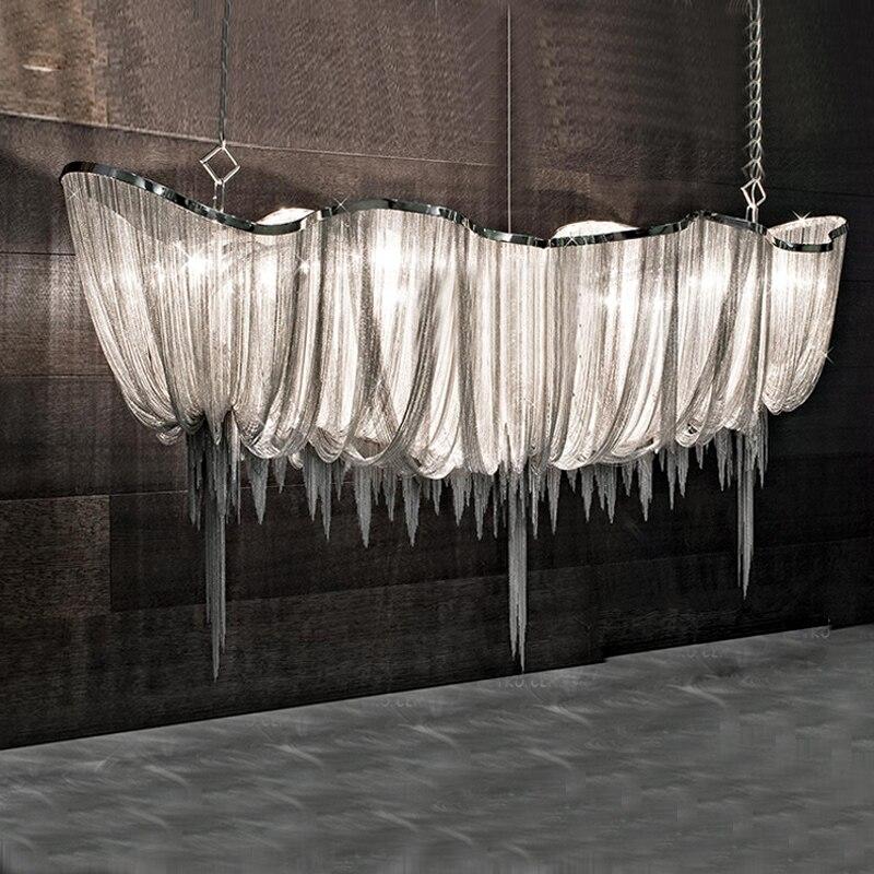 Argenté/or chaîne en aluminium lustre lumière moderne villa projet lumière 110 V/220 V