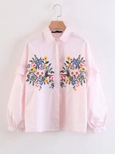 Blouse New Women Ladies Cute Frill Trim Long Sleeve Ruffle Button Office Shirt Floral Embroidered Work Casual Tops
