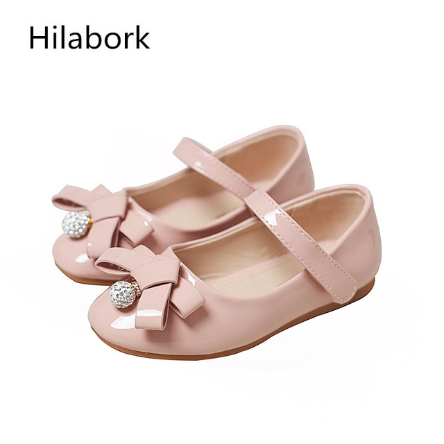 2017 spring new girl leather shoes rhinestone patent leather HOOk & LOOP soft bottom kids girls shoes shallow mouth single shoes