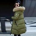 2016 Nova Moda Inverno Coreano Estilo Mulheres Espessamento Para Baixo Casaco Longo Casaco Parkas Quentes Do Sexo Feminino Roupas de Pele De Guaxinim Com Capuz Outwear
