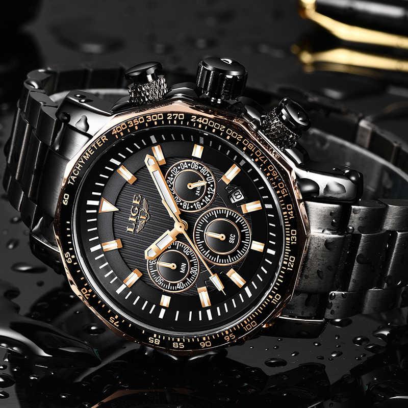 ליגע Mens שעונים למעלה מותג יוקרה הכרונוגרף מלא פלדה גדול חיוג קוורץ שעון גברים עמיד למים ספורט שעון Relogio Masculino