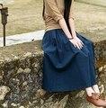 Brand Women Long Skirts Cotton Linen Solid Pleated Saia Longa Pockets Elastic Elegant Vintage A-Line Casual Maxi Skirt 7 Colors