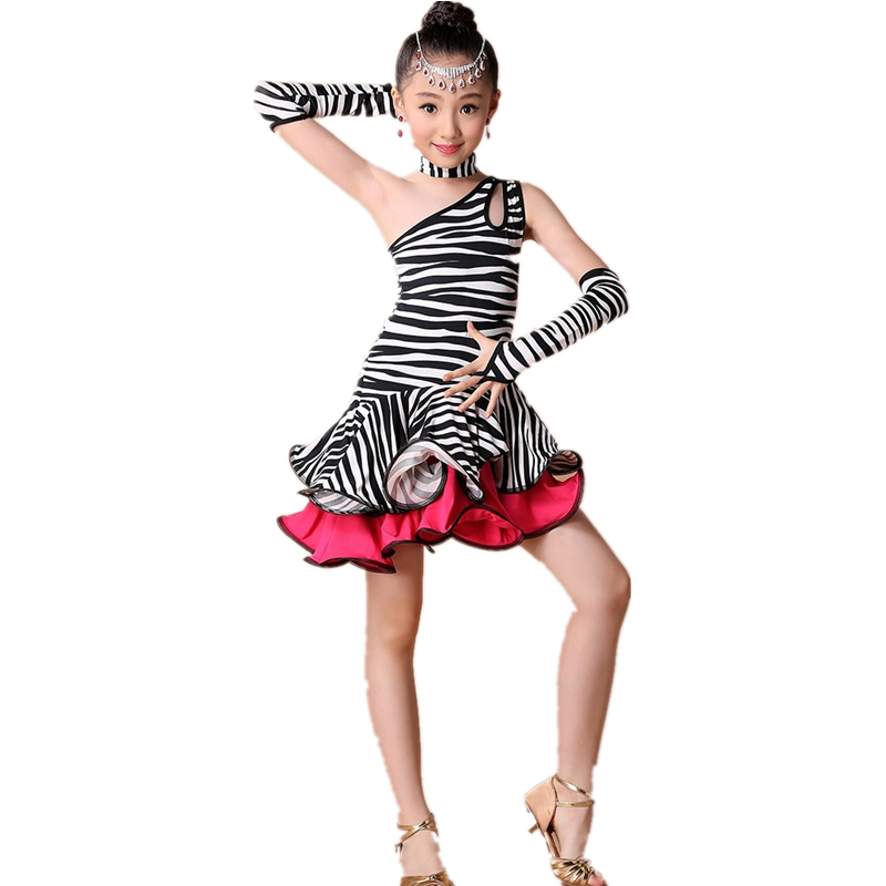 New Fashion Zebra Stripe/leopard Print Children Dress Kids Latin Dress Girl Dance Costumes with Rhinestone Headwear and Earrings