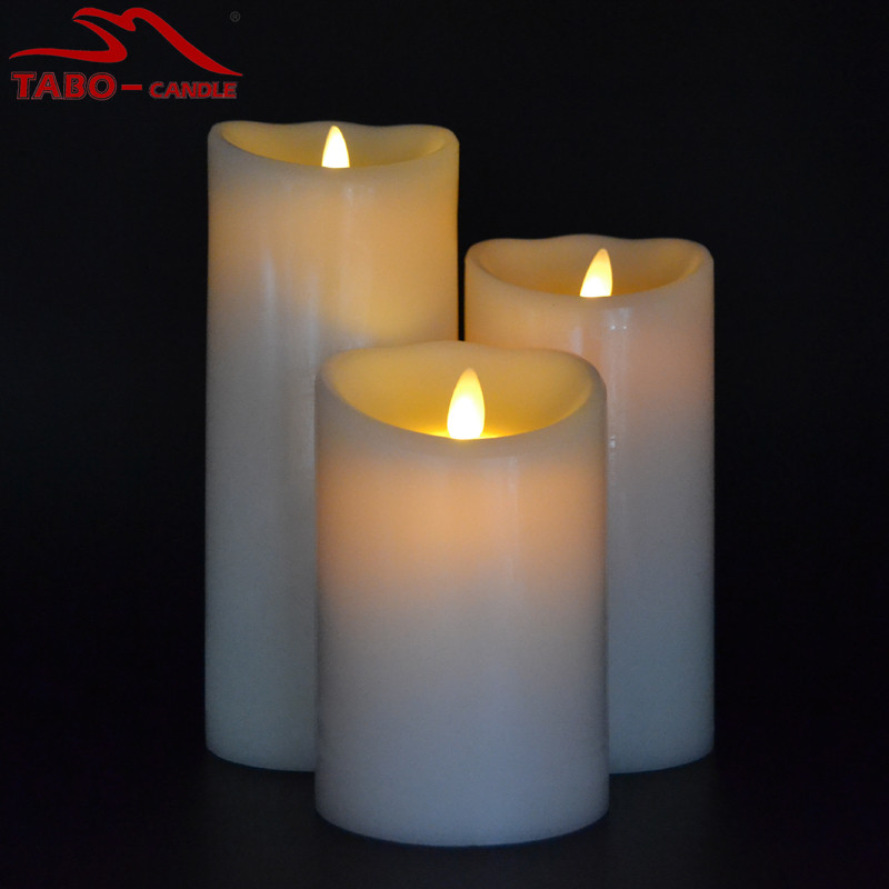 nwe dancing flameless led wax pillar candle in 3 different sizes luminara candles set of 3