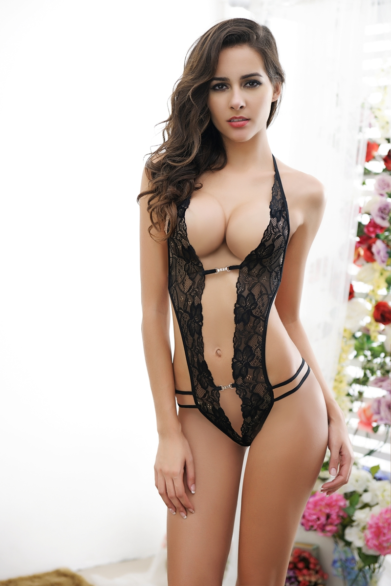 Free Shipping,Sexy Lingerie Blackpink 2Colors Sheer Lace -6650