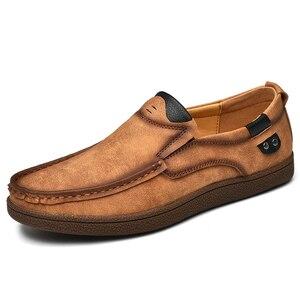 Image 3 - Mocasines planos de cuero partido para hombre, calzado informal de talla grande 46, para otoño