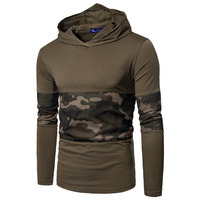 2018 Spring Camouflage Male T Shirts Army Combat Tactical T Shirt Military Men Long Sleeve Hooded