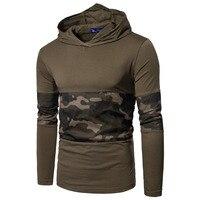 2018 primavera Camouflage Maschio T-Shirt Combattimento Dell'esercito Tactical T Shirt Militare Uomo Manica Lunga con cappuccio T-Shirt