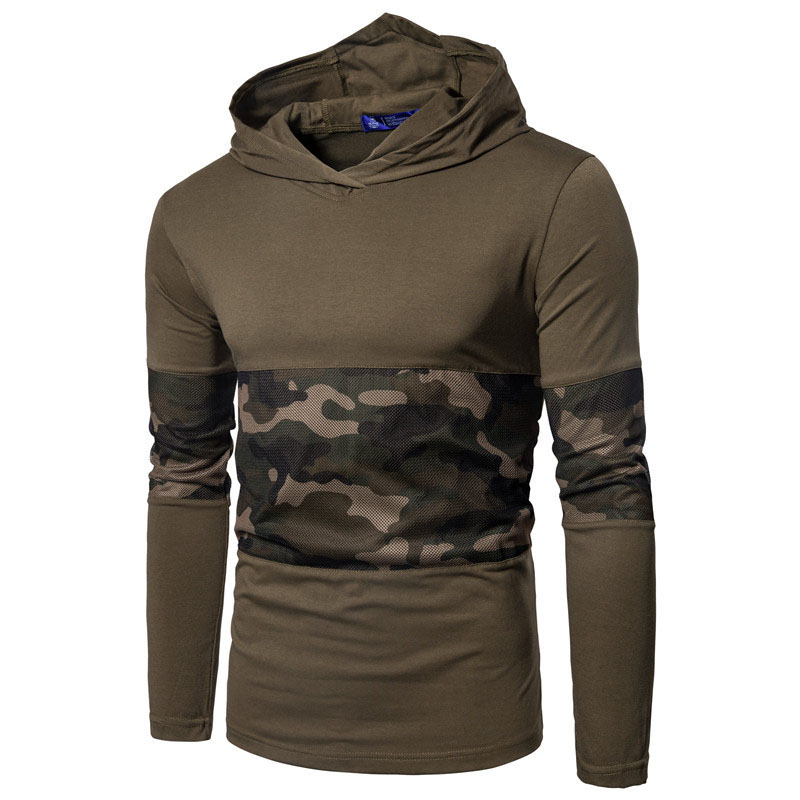2018 spring Camouflage Male T-shirts Army Combat Tactical T Shirt Military Men Long Sleeve hooded T-Shirts