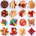 4 pçs/lote melhor educacional brinquedos de madeira 3D brainteaser qi rebarba de quebra-cabeça de desbloqueio jogos para crianças e adultos