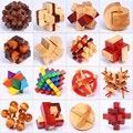 4pcs/lot Best educational wooden toys 3D brainteaser IQ burr puzzle unlocking games for kids and adult