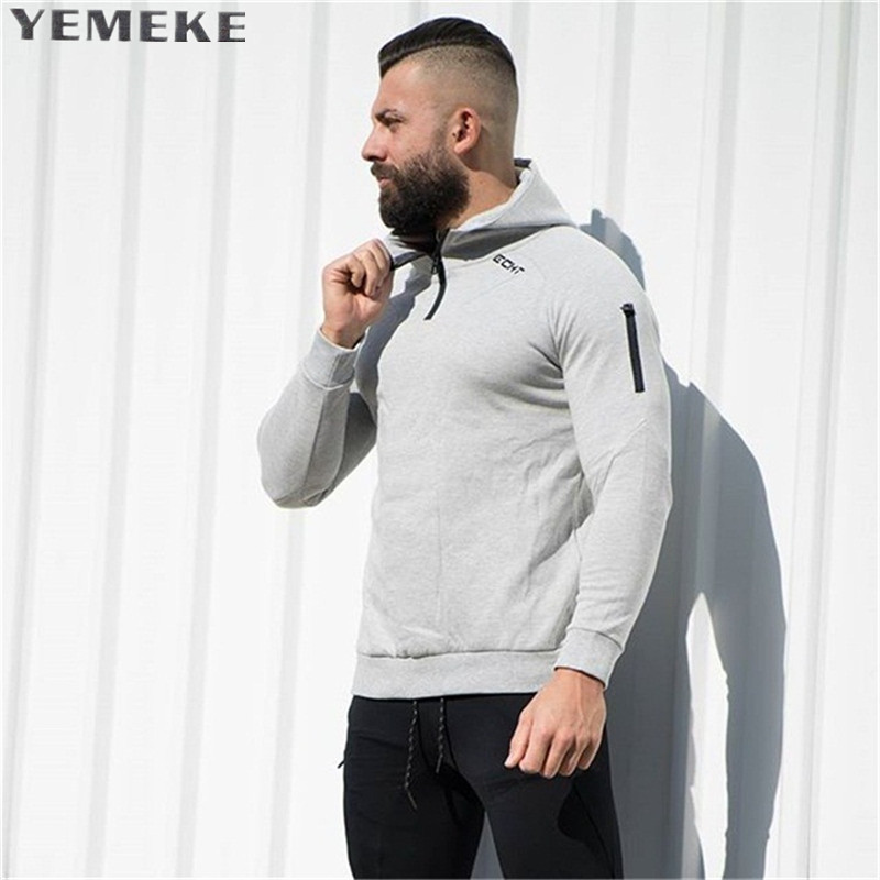 YEMEKE 2017 Casual New Men Hoodies and Sweatshirts brand clothing Top quality casual Male Black grey Hooded Sweatshirt