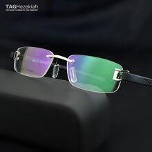 Senza cornice di vetro del telaio uomini TAG di Marca occhiali da vista frames uomini Miopia del computer vetri ottici telaio Ultraleggero movimento occhiali da vista