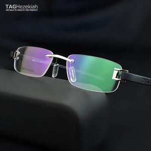 Image 1 - Senza cornice di vetro del telaio uomini TAG di Marca occhiali da vista frames uomini Miopia del computer vetri ottici telaio Ultraleggero movimento occhiali da vista