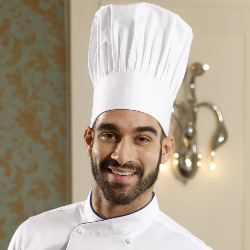 Food Service Restaurant Thick Washable High Top Chef Cap Pure Cotton 28cm High Pleated White Chef Hat