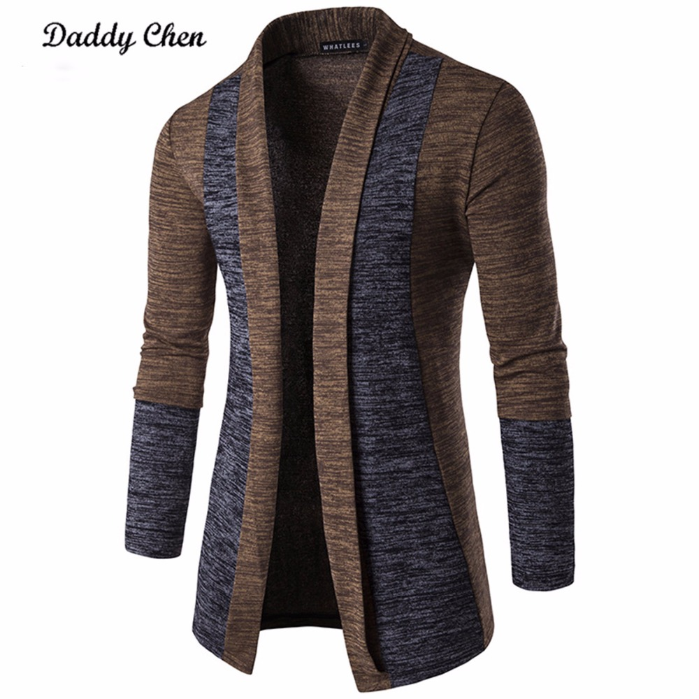 Casual Men Jacket Patchwork Long Sleeve 2018 Mens Fashion Men   Trench   Autumn Cotton Homme Fashion Gray Open Stitch Coat Outerwear