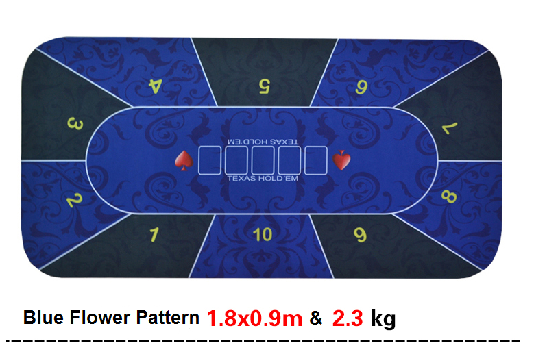 Texas Holdem Poker Mat 1.8*0.9m flower pattern rubber gaming pad