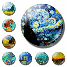 1 PCS Van Gogh Starry Night Sunflower Oil Painting Round 25mm Glass Cabochon Handmade Jewelry Supply for Pendant Bracelet Making