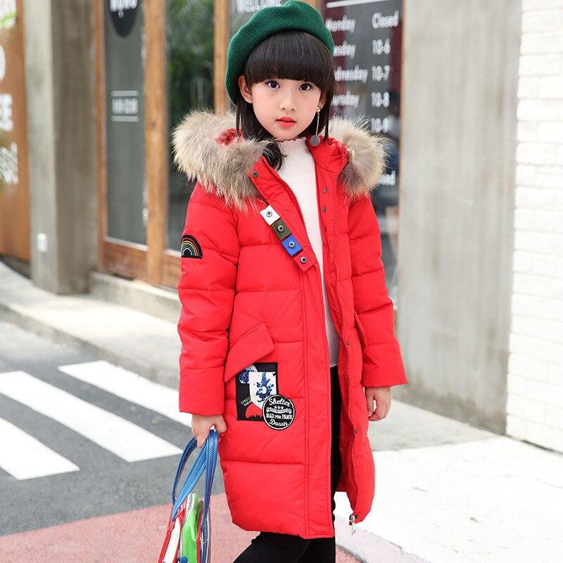 Childrens wear 2018 down jacket medium length girl child Korean version big hair collar thick coat