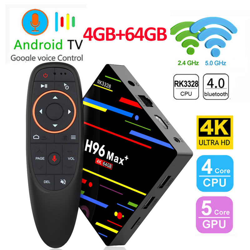Date H96 MAX Plus Smart TV Box Android 8.1 TVBox RK3328 Quad Core 4GB Ram 32 GB/64 GB Rom 4K H.265 USB3.0 décodeur H96Max