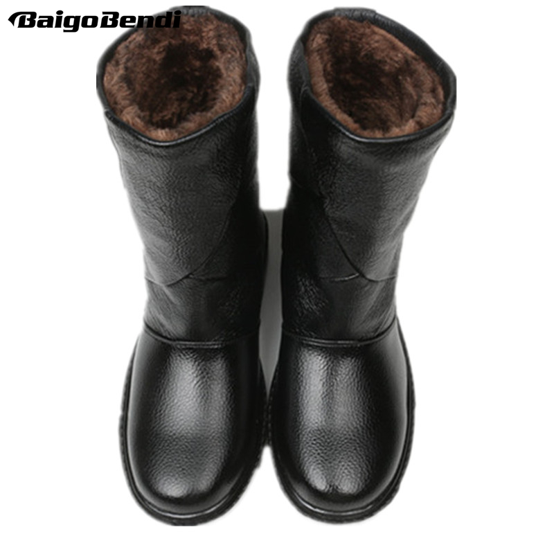 US5-10 Real Leather Pull On Waterproof Super Warm Mid-calf Snow Boots Mens Winter Outdoor Plush Cotton Shoes image