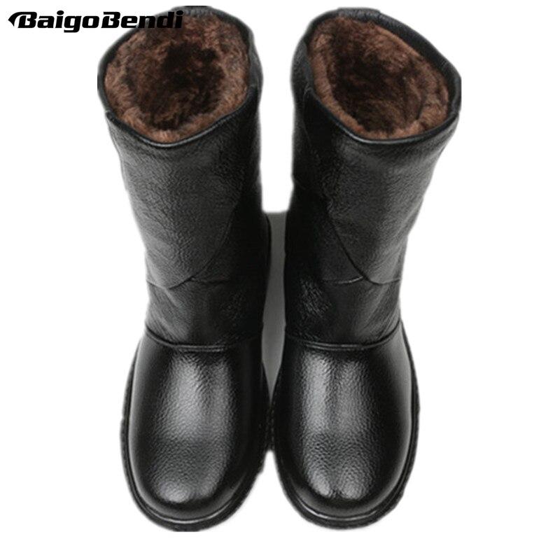 US5-10 en cuir véritable tirer sur imperméable Super chaud mi-mollet bottes de neige hommes hiver en plein air en peluche coton chaussures