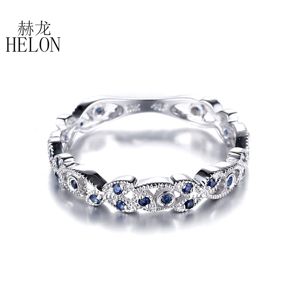 HELON Natural Sapphire Solid 14K White Gold Elegant Filigree Gemstone Engagement Wedding Band Ring For Women Trendy Fine Jewelry