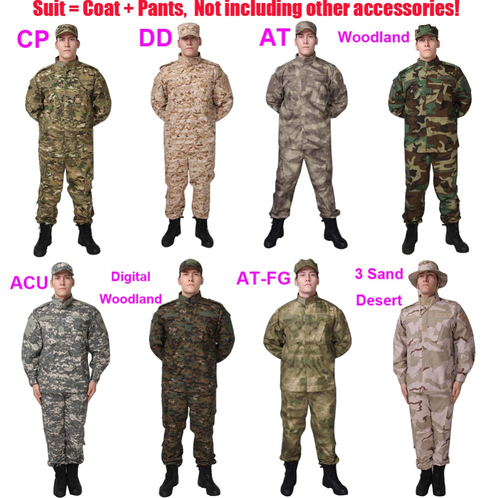 Free Shipping ACU Type Military Tactical Combat BDU Suit Outdoor War Game Camouflage Ripstop Uniform Set With Coat And Trousers usmc digital urban camo v3 bdu uniform set war game tactical combat shirt pants ghillie suits