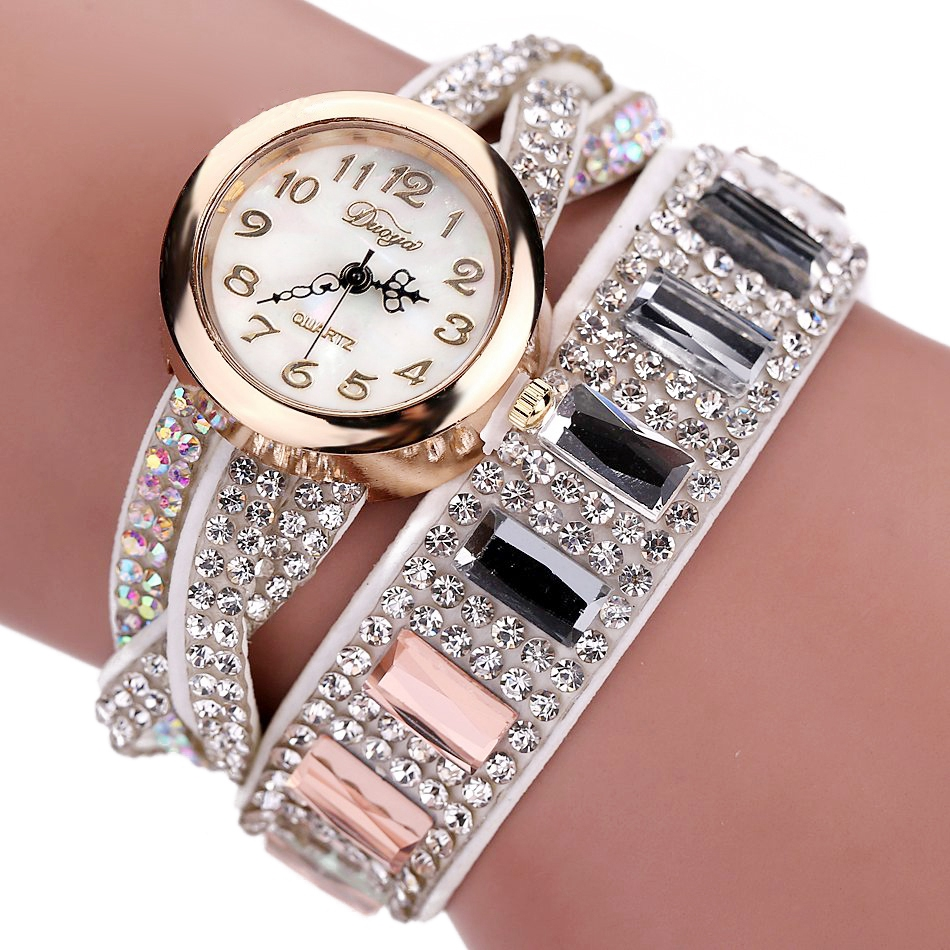 DUOYA Brand Fashion Bracelet Wristwatch Quartz Watch Women Crystal Stone Gold Rhinestone Luxury Ladies Dress Watch, D046 duoya fashion luxury women gold watches casual bracelet wristwatch fabric rhinestone strap quartz ladies wrist watch clock
