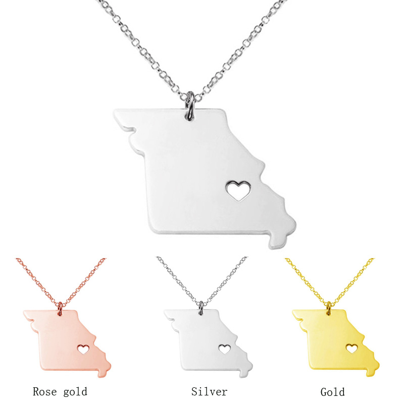 US Missouri state necklace 2016 map pendant summer style necklaces accessories collares new jewelryCN31