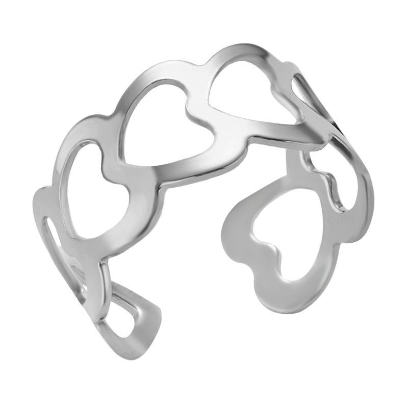 19 New Fashion Silver Hollow Heart-Shaped Opening Ring For Women Punk Alloy Finger Rings Simple Boho Jewelry 3