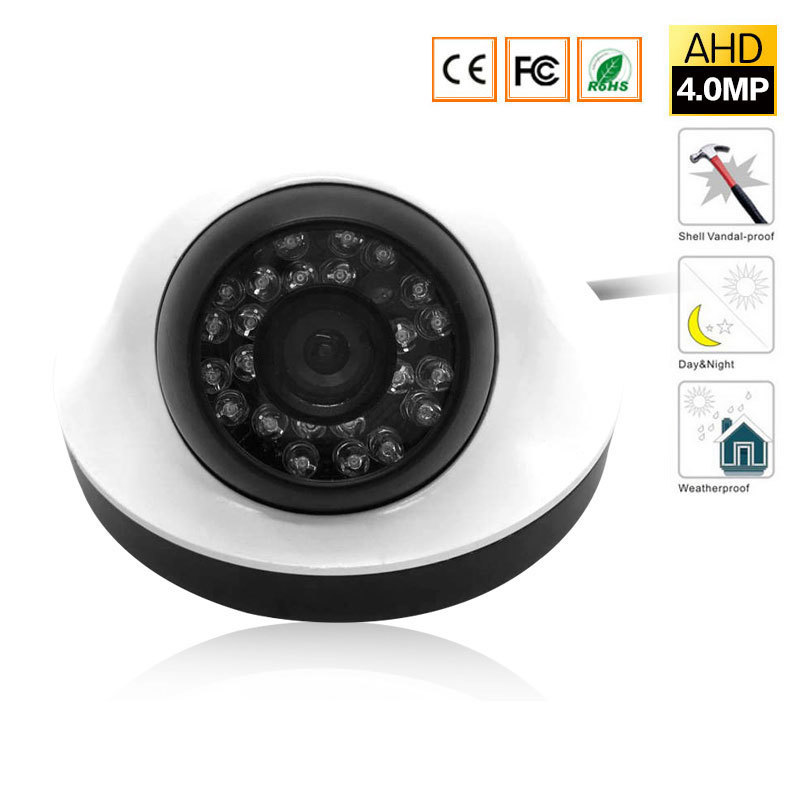 4MP Security dome Camera, 4 Megapixel CCTV Camera for AHD DVR Surveillance System with 24 IR CUT LEDS for Night Vision 100ft,
