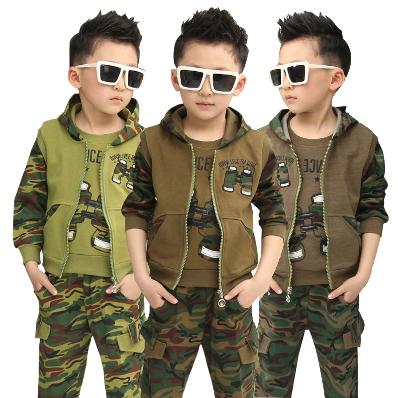 Boys Fashion camouflage clothing set 3pcs Spring Autumn  big kids Hooded Jacket T-shirt pant clothes suit for 3 5 6 8 10 12 year