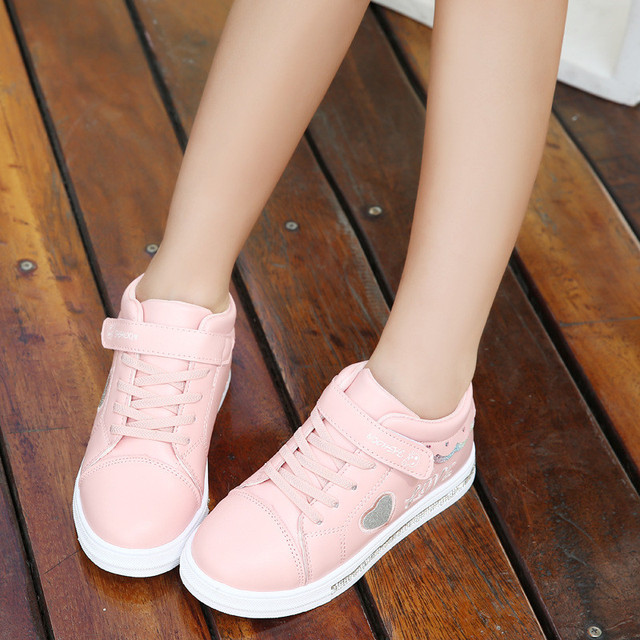 2019 Autumn Girl Toddler Slippers Casual Shoes White Heart Shape Infant Children Sneakers Shoes Breathable 3