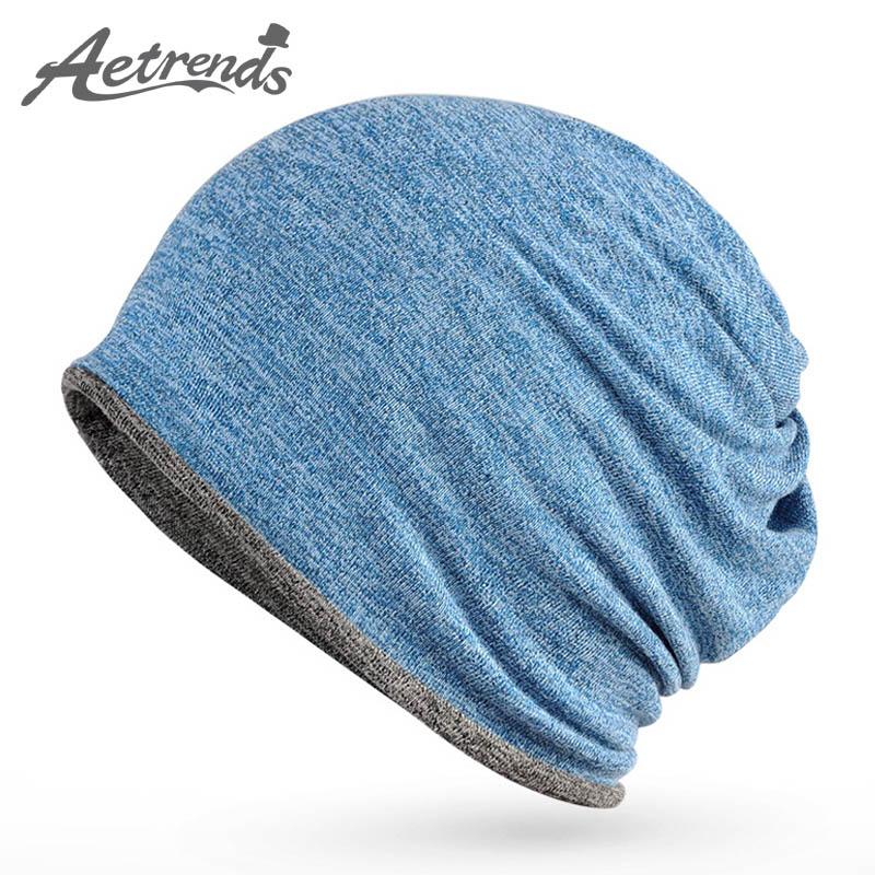 [AETRENDS] New Beanies Hip-Hop Collar Scarf Hats For Men Women Skullies Baggy Cap Z-5084