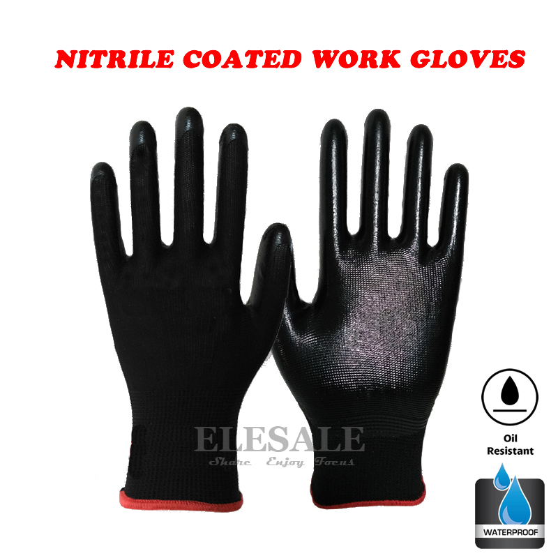 1-Pair High Quality Nitrile Coated Working Gloves Oil-Proof Garden Gloves For Builders Gardeners Repairing Size 7/8/9/10