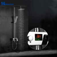 Haliaeetus LCD Digital time and temperature display Shower faucet. Rainfall Shower Faucet Set Cold hot water bathroom mixer