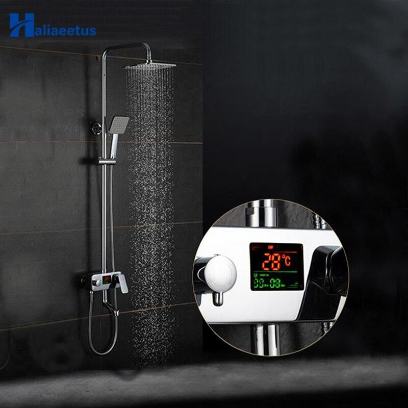 Robinet de douche à affichage numérique de l'heure et de la température Haliaeetus LCD. Ensemble de robinet de douche à effet pluie mélangeur de salle de bain à eau froide